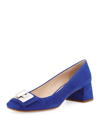 Suede Turnlock Mid-Heel Pump, Bluette