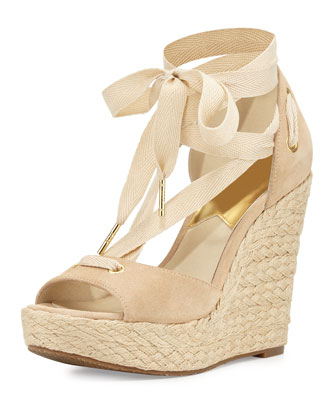 Lilah Suede Wedge Sandal, Bone