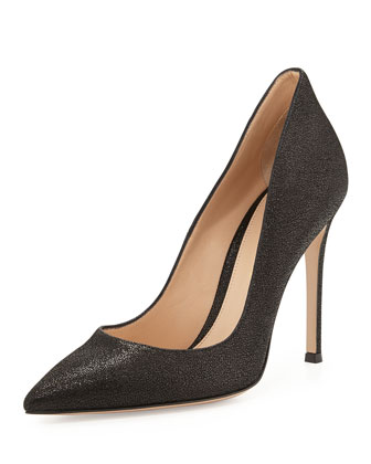 Crackled Metallic Point-Toe Pump, Black