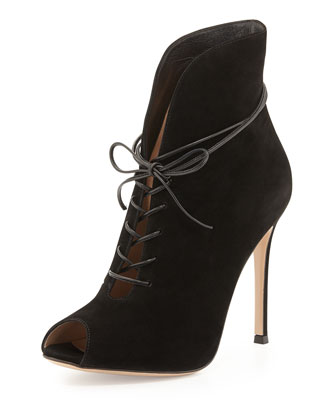 Suede Peep-Toe Lace-Up Bootie, Black