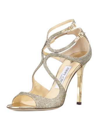 Lang Glittered Strappy Sandal, Pewter