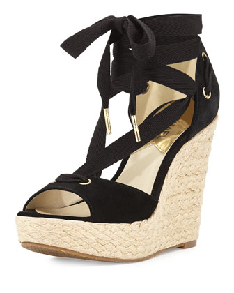 Lilah Suede Wedge Sandal, Black