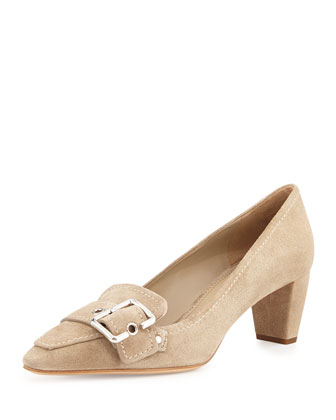 Low-Heel Suede Buckle Pump, Deserto