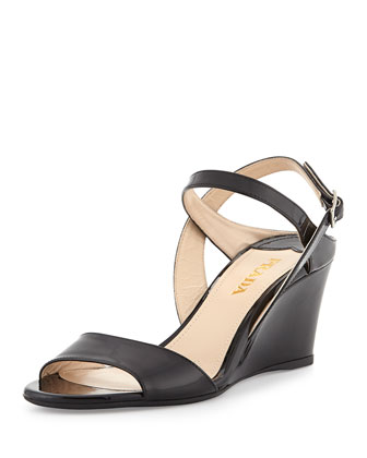 Patent Demi-Wedge Sandal, Nero
