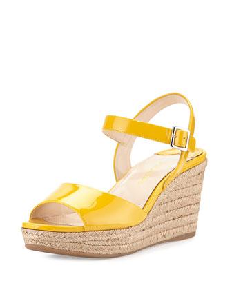 Patent Espadrille Wedge Sandal, Soleil