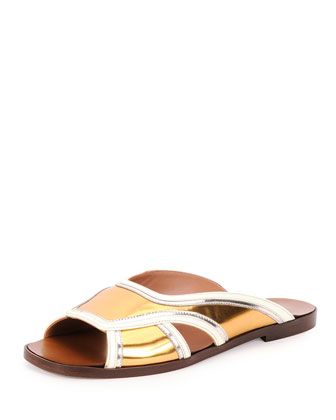 Metallic Leather Slide Sandal, Gold Sun
