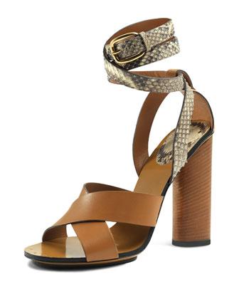 Snakeskin Ankle-Wrap Sandal, Bisco/Old Roccia