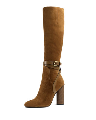 Suede Knee-High Boot, New Marron