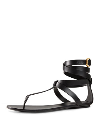 Leather Ankle-Wrap Sandal, Nero