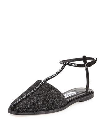 Gizma Crystal-Studded Flat Thong Sandal