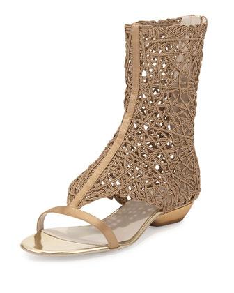 Satin Intrecciato Flat Sandal, Bronze