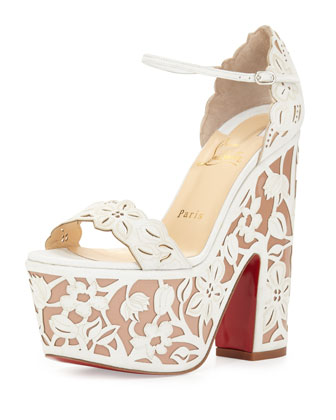 Houghton Platform Red Sole Sandal, White/Nude