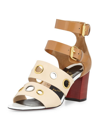 Scuba Bicolor Red Sole Sandal, Beige