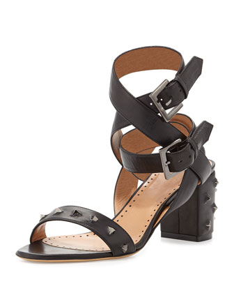 Nell Studded Leather Ankle-Wrap Sandal, Nero