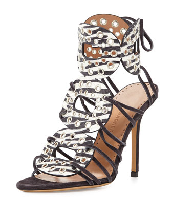 Christy Zebra-Print Watersnake High-Heel Gladiator Sandal