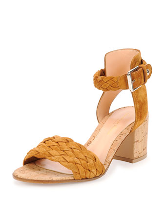 Braided Suede Cork-Heel Sandal