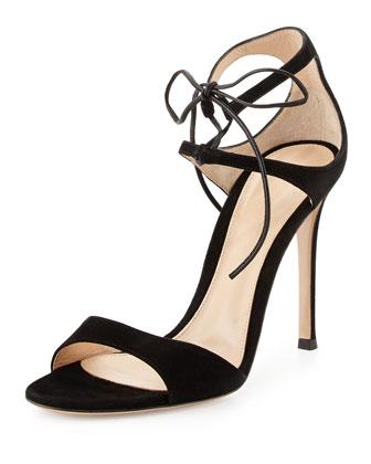 Suede Ankle-Tie Sandal, Black