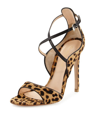 Animal-Print Calf Hair Sandal, Leopard/Black