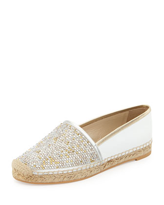 Crystal-Embellished Leather Espadrille, White