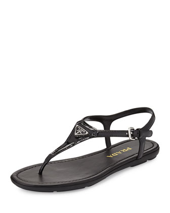 Triangle Patent Thong Sandal, Nero