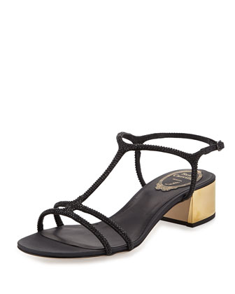 Crystal-Embellished Satin Chunky Heel Sandal, Black