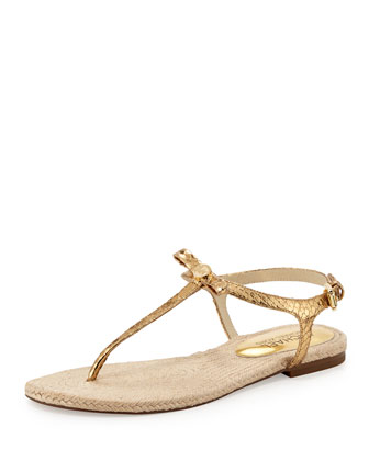 Josie Metallic Snake-Embossed Sandal, Pale Gold