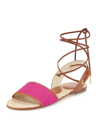 Lilah Canvas & Leather Flat, Fuchsia
