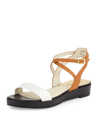 Kaylee Leather Flat Sandal, Peanut/White/Black
