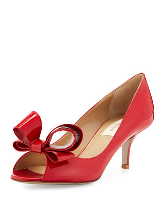 Patent Bow Low-Heel Pump, Rosso