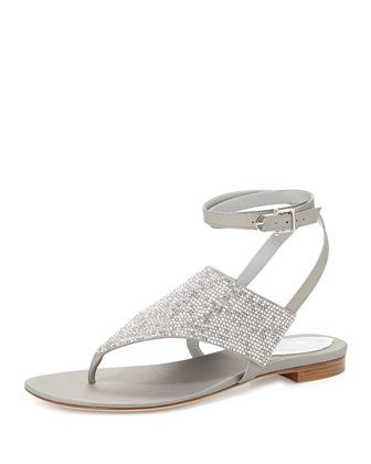 Strass Ankle-Wrap Thong Sandal, Silver