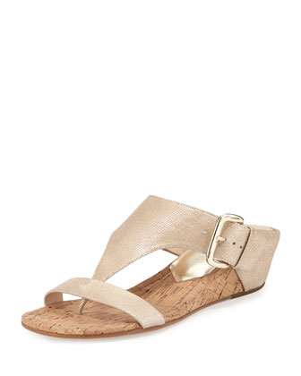 Doli 2 Low-Wedge Cork Slide, Platino