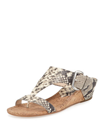 Doli2 Low-Wedge Snake-Embossed Slide, Ash Snake