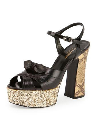 Snakeskin & Glitter Platform Sandal, Natural/Noir