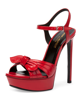 Bianca Leather Bow Sandal, Rouge Etoile