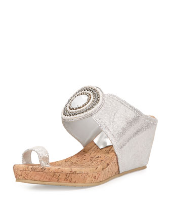 Gaya Toe-Ring Wedge Sandal, Silver