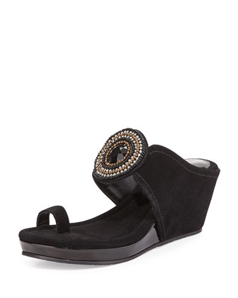 Gaya Toe-Ring Ornamented Wedge, Black