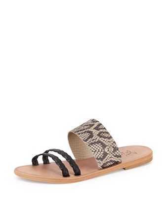 Diani Three-Strap Slide, Black