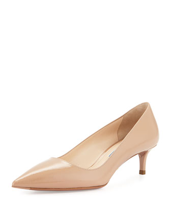 Saffiano Point-Toe Pump, Cammeo