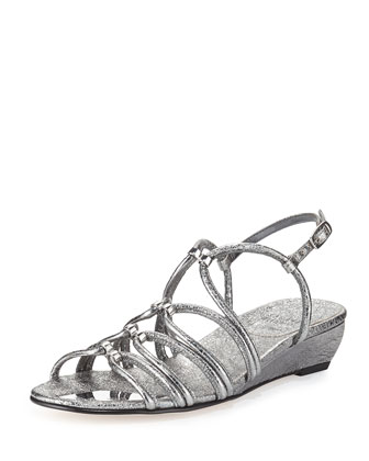 Nuts Demi-Wedge Sandal, Iron Foil