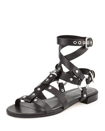 Ontherun Strappy Flat Sandal, Black