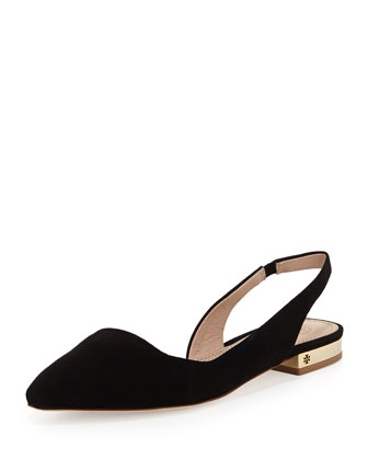 Classic Point-Toe Slingback Flat, Black