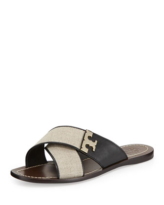 Culver Crisscross Flat Sandal, Natural/Black