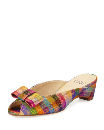 Candy Plaid Silk Bow Mule, Tinsel