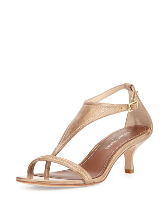 Monti Metallic Leather T-Strap Pump, Light Bronze