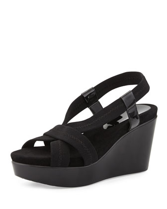 Jemm Stretch Wedge Sandal, Black