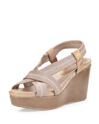 Jemm Metallic Stretch Wedge Sandal, Natural