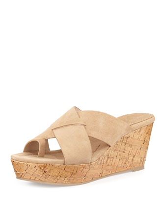 Fuji 2 Patent Cork Toe-Ring Sandal, Natural