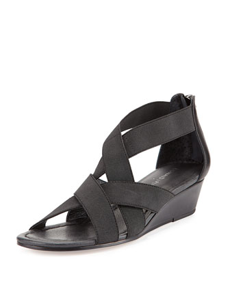 Didi Elastic Demi-Wedge Sandal, Black