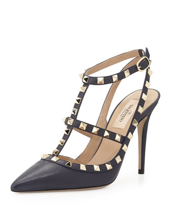 Rockstud Leather Halter Pump, Marine