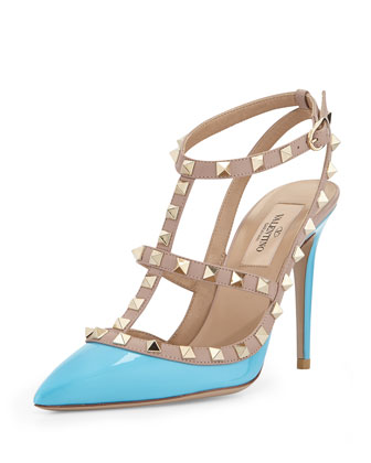 Rockstud Patent Leather Sandal, Parrot
